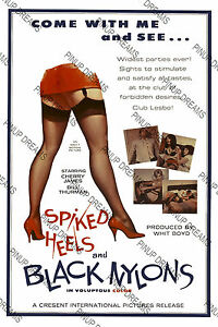Classic-Vintage-Pinup-Movie-Poster-Spiked-Heels-and-Black-Nylons-re-print