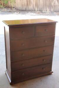 Good condition solid timber tallboy metal runner can deliver Parramatta Parramatta Area Preview