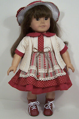 3pc BURGUNDY Heart Dress Jacket Hat Doll Clothes For 18
