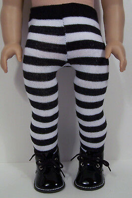 Black Patent Boots For Girls (2pc BLACK Patent Boots w/Stripe Tights Doll Shoes For 18