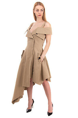 RRP€1460 MONSE Gabardine Asymmetric Hem Dress Size 10 / XL Pleated Made in Italy