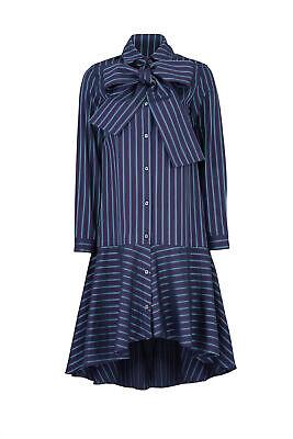 Osman Women's Dress Green Blue Size 6 Shirt Striped High-Low Flounce $515- #435