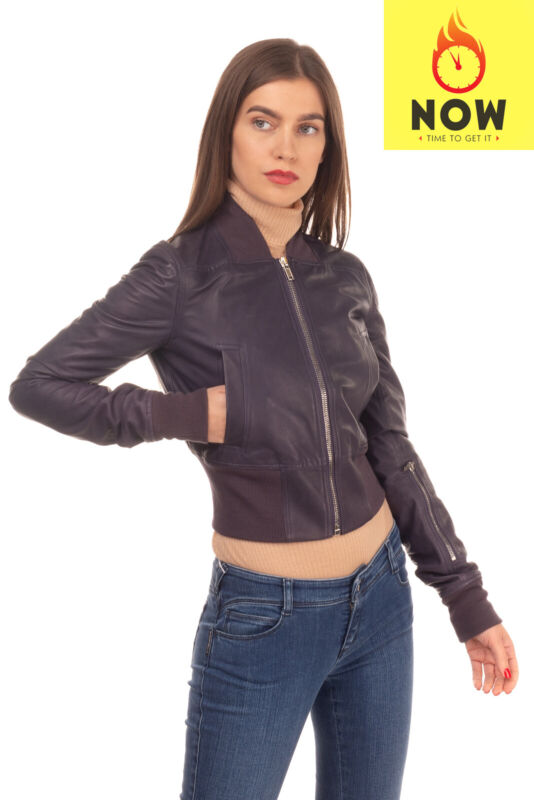 RRP€1930 RICK OWENS Leather BomberJacket Size 40 S Purple Cropped Made in Italy