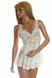 Vtg Olga Babydoll Nightgown Panty Set Bridal White Lace Sheer Form Fit Lingerie