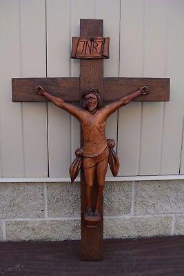 """+ Older Hand Carved Crucifix 38"""" + Wood Cross + (CU52) + Church +"""