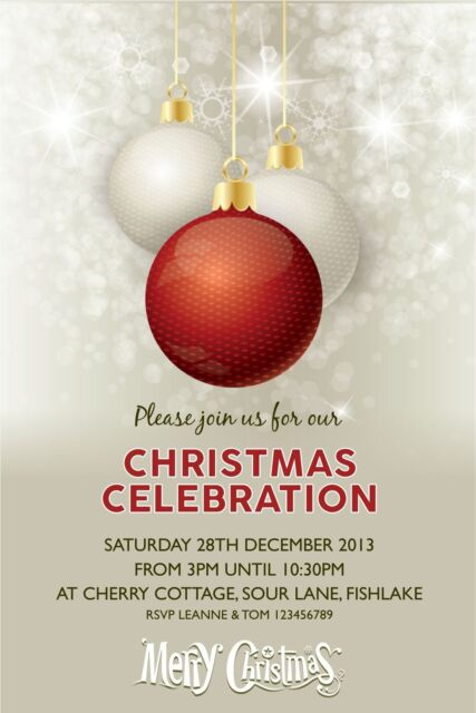 Personalised Christmas Party Invitations x 5