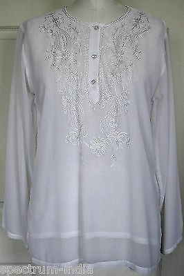 Adini Beautiful Georgette White Lined Blouse with White Embroidery -Small , used for sale  Shipping to India