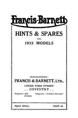 (0562) 1932 Francis Barnett 21 22 23 24 25 hints & parts book