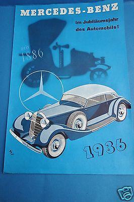Mercedes-Benz Prospekt 1936 Automobil Daimler-Benz Cabrio Roadster Pullman Auto