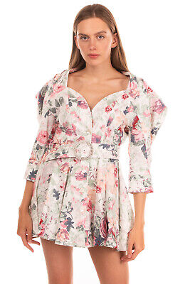 RRP €555 ATTICO Flared Hem Dress Size 42 / S Floral Belted Padded Shoulders