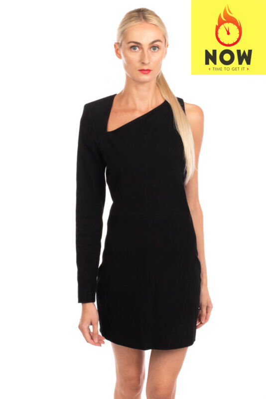 RRP €3420 BALMAIN Suede Leather Mini Dress Size 40 L Zipped Back Made in France