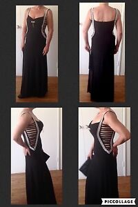 Long Black Peep Sides Diamanté Ball Gown, $110, P/u Currambine, 6028 Currambine Joondalup Area Preview