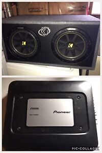 """Dual 10"""" Kicker subs, Pioneer 760w two channel amp"""