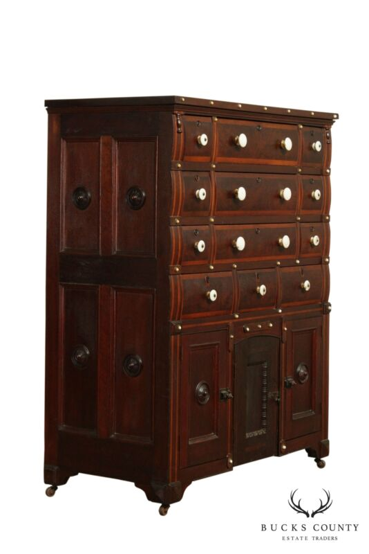 Antique 19th Century Nautical Collectors Cabinet, Multi Drawer Chest