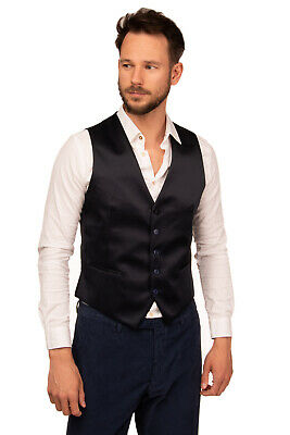TAGLIATORE Waistcoat Size 48 Contrast & Gathered Back Button Front Made in Italy