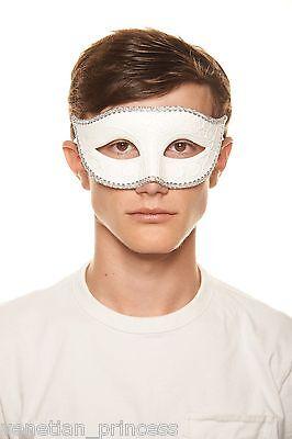 Men's Handsome White Venetian Masquerade Mask Mardi Gras Wedding Prom NEW (White Mardi Gras Masks)