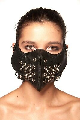 Steampunk Leather Half Face Mask - Motorcycle, Biker, Cycling Design Face - Steampunk Half Mask