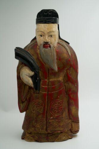 "Vintage Handpainted Wooden Chinese Figurine 14"" H"