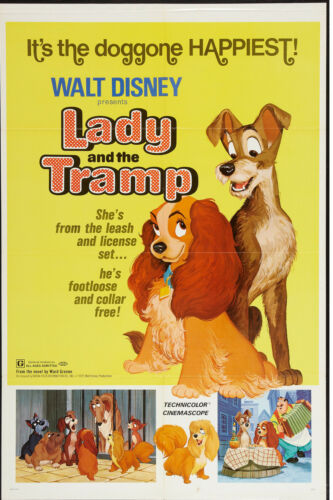LADY AND THE TRAMP original DISNEY one sheet movie poster 27x41