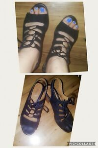 Winners black strappy heel size 9 1/2