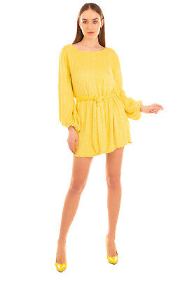 RRP €650 RETROFETE Mini Blouson Dress Size XS Yellow Sequined Belted Long Sleeve