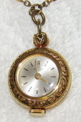 Vintage BUCHERER Gold Tone Faux Pearl Necklace Pendant Watch - Working Condition