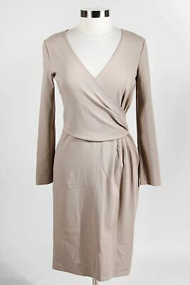 Armani Collezioni Taupe Viscose Blend Long Sleeve Mock Wrap Pencil Dress Sz 8