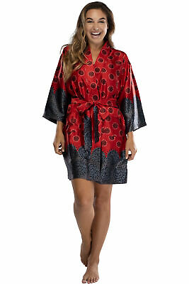 Intimo Womens Woven Polyester Soft Comfy Robe Red
