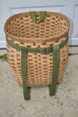 Vintage Wood Woven Adirondack Trapper Backpack Hiking Hunting Trap Pack Basket