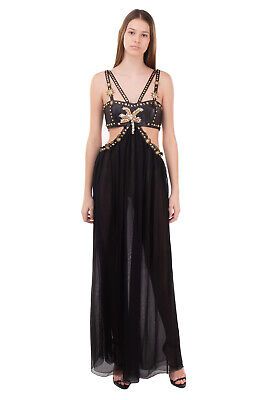 RRP€1755 FAUSTO PUGLISI Leather & Silk Fraled Gown Size 40 / XS Inti Sun Studded