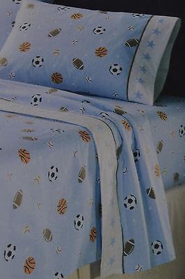 Flannel Queen Sheet Set~Sports Game~Football~Basketball~Soccer -