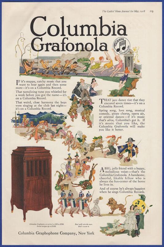 Vintage 1918 COLUMBIA Records Grafonola Phonograph WWI Jazz Ephemera Print Ad