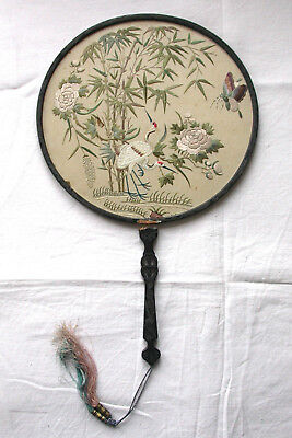 UNUSUAL ANTIQUE CHINESE SILK EMBROIDERED FAN. WOODEN FRAME/HANDLE. BIRDS,FLOWERS