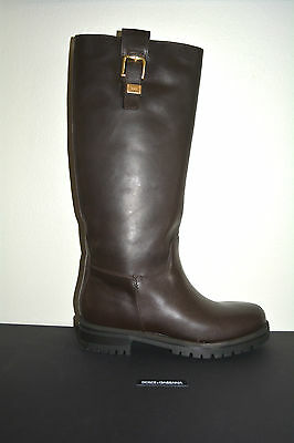 NIB DOLCE & GABBANA LEATHER TALL BIKER RIDING BOOTS SZ EU 39 US 9 $995 ITALY