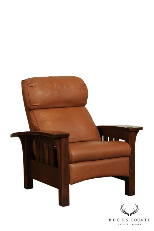Stickley Mission Collection Oak Bow Arm Leather Morris Recliner - B