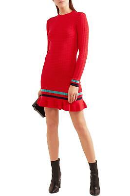 3.1 Phillip Lim Women's Red Ribbed-knit Stretch-cotton Mini Dress Size (3.1 Phillip Lim Red)