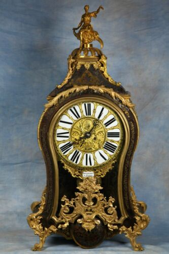 Large Antique French Boulle Inlay Wood Clock 18th Century