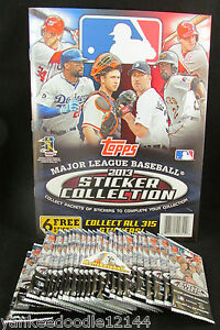 2013 Topps MLB Baseball Stickers 25 unopened Sticker Packs & 1 Album