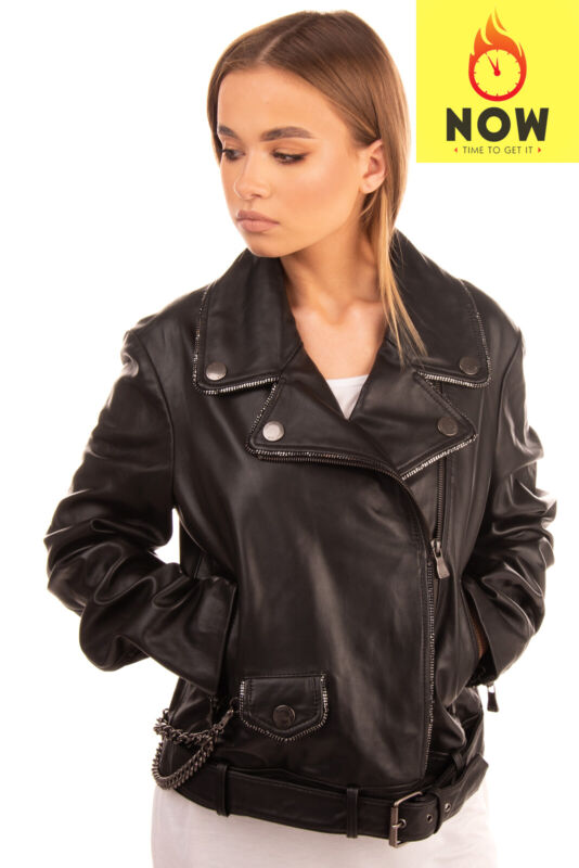 RRP €870 BOUTIQUE MOSCHINO Leather Biker Jacket Size 46 / XL Zipped Chain Trim