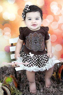Thanksgiving Rhinestone Turkey Brown Bodysuit Beige Skirt Girl Baby Dress NB-12M