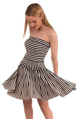 RRP €350 ELISABETTA FRANCHI Bustier Skater Dress Size 42 Stripe Made in Italy