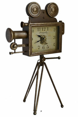 Large 19 Bronze Antique-Style Movie Camera With Tripod Tabletop Mantel Clock