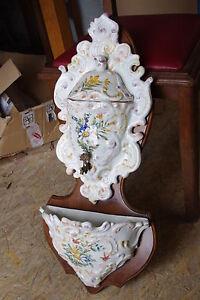Ancienne fontaine murale en faience d cor fleurs sur socle for Faience murale ancienne