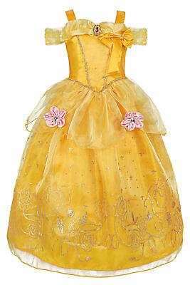 Girls Belle Princess Dress Costume Flower Butterfly Adventure Cosplay Gown Dress (Girls Butterfly Dress)