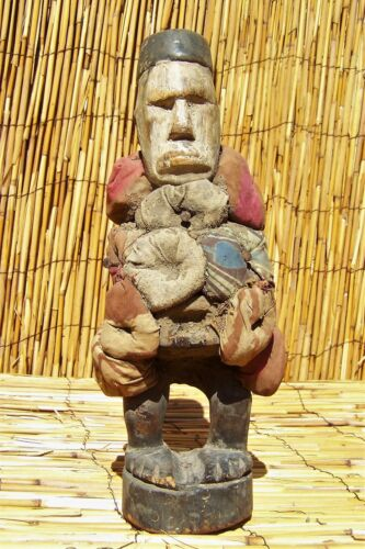 """African Bakongo Yombe  nkisi Nail Fetish Figure From DRC Congo 13"""" Tall"""
