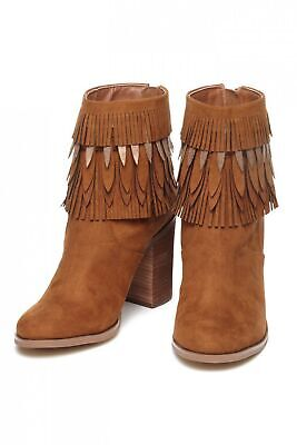 Yellow Box Womens Sunny Suede Fringe Booties Store Return (Sunnies Store)