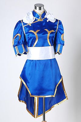 Street Fighter Chun Li ChunLi Blue Dress Adult Halloween Cosplay Costume (Chun Li Halloween)