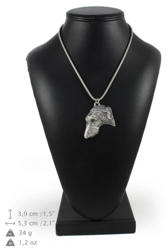 Scottish Deerhound - silver plated necklace on silver cord, Art Dog USA