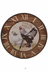 12 Large Vintage-Style Country Kitchen Rooster Hen Bistro Wood Wall Clock