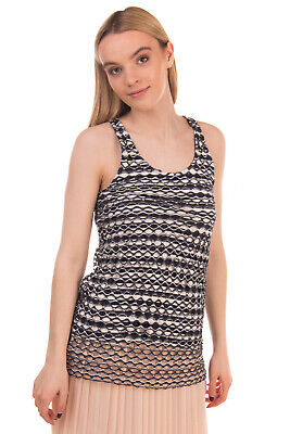 JIJIL Vest Top Size 40 Distressed Style Striped Openwork Double Layer Racer Back